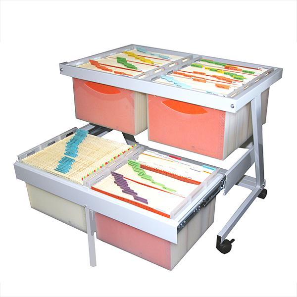 Akten-Caddy für 14 Boxen auf 2 Etagen, Stahl, RAL 7035/grau