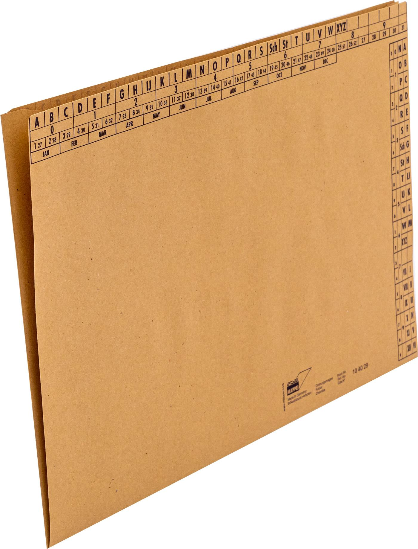 Ordnungsmappe f. DIN A4, Natronkarton braun, 90 g/qm