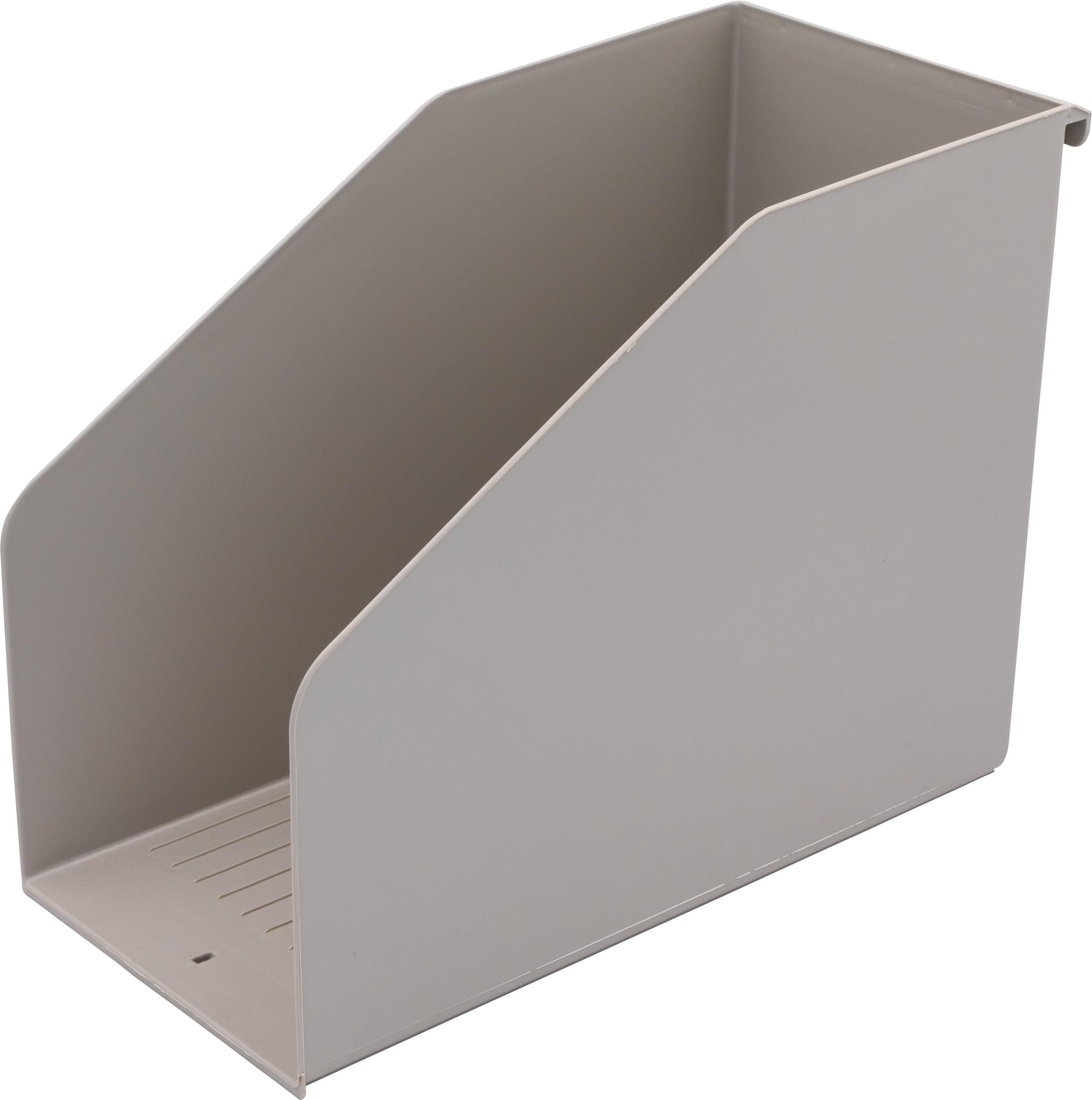 Ordnungsbox A4, lateral, 15 cm breit, Polystyrol, grau