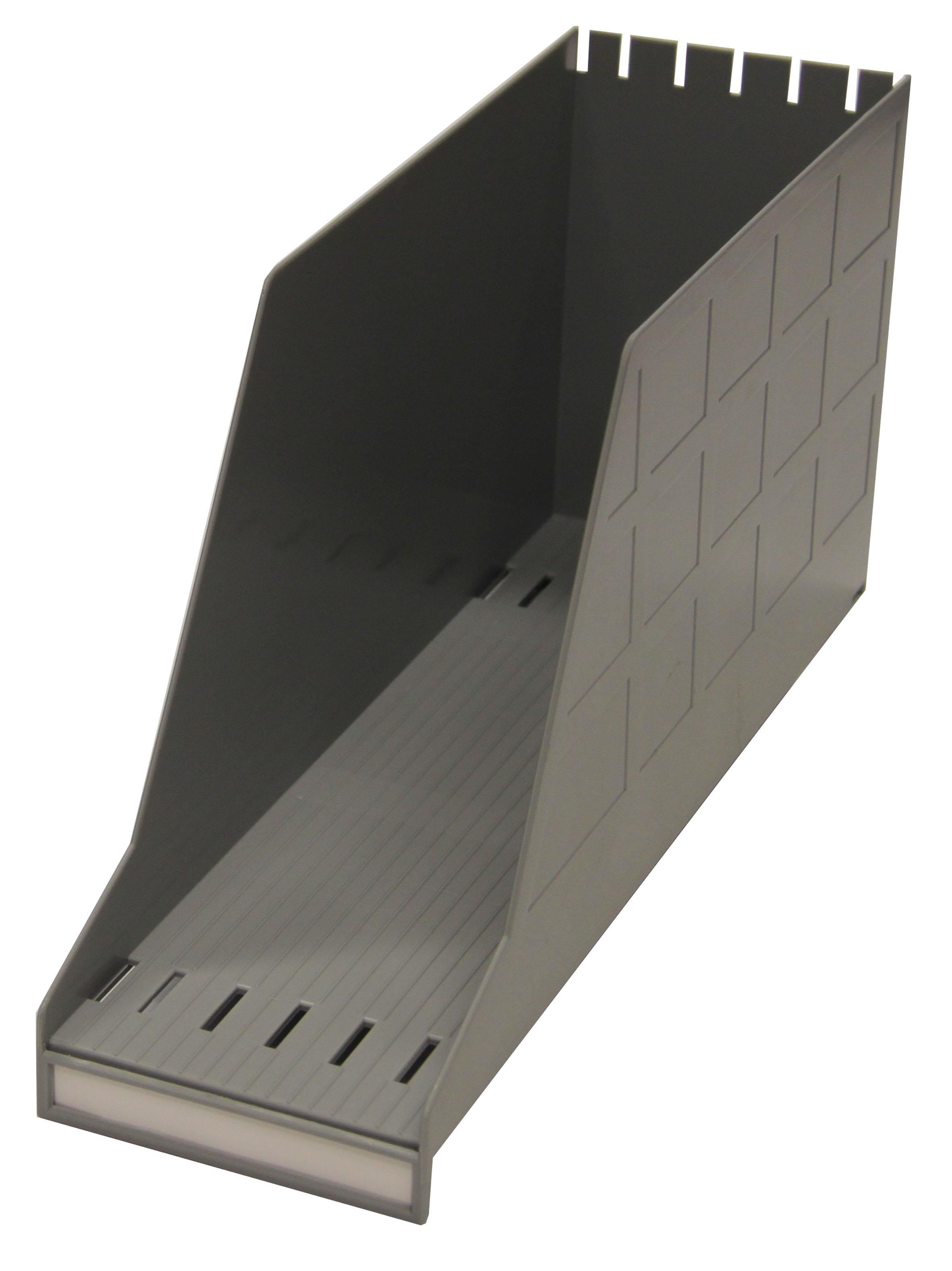 Ordnungsbox für DIN A4, lateral, 10 cm breit, Polystyrol, grau